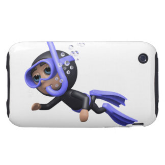 3d Scuba Diver Swimming (Any Color U Like!) iPhone 3 Tough Cover