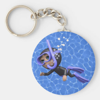 3d Scuba Diver Swimming (Any Color U Like!) Keychain