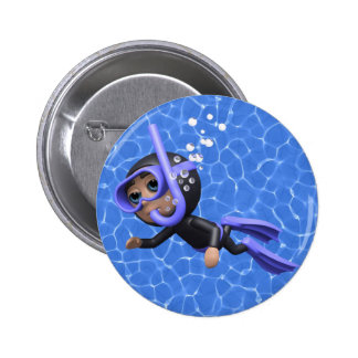 3d Scuba Diver Swimming (Any Color U Like!) Pinback Button