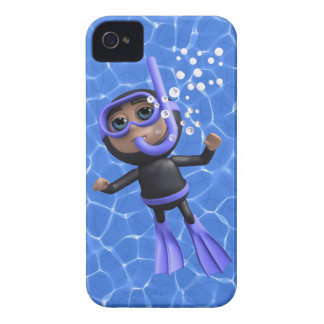 3d Scuba Diver Swims to Surface (Any Color U Like! iPhone 4 Case
