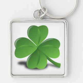3D Shamrock/Clover Silver-Colored Square Keychain