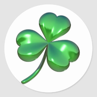 3d shamrock design classic round sticker