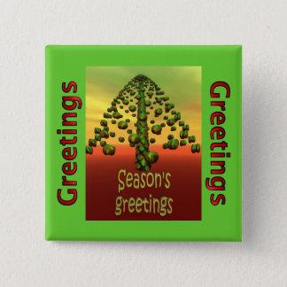 3D shining green tree Pinback Button