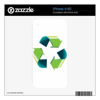 3D Shiny Recycling Symbol Decal For iPhone 4