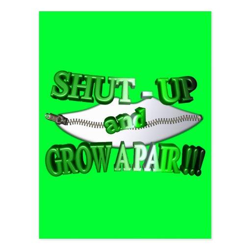 3D Shut - Up and Grow A Pair !!! Postcard