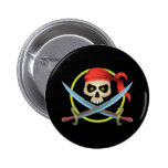 3D Skull and Crossbones 2 Inch Round Button