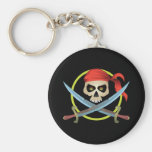 3D Skull and Crossbones Basic Round Button Keychain
