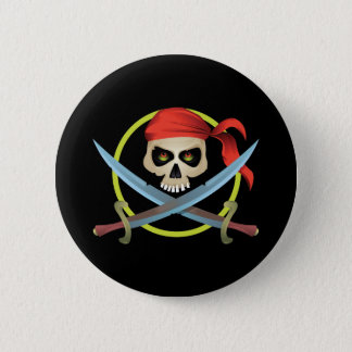 3D Skull and Crossbones Pinback Button