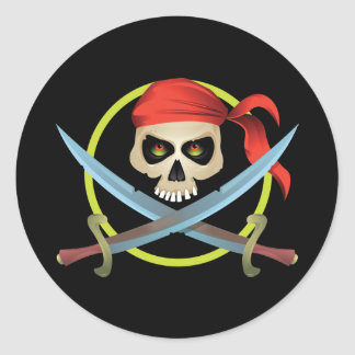 3D Skull and Crossbones Round Stickers