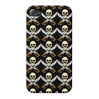 3D Skull and Crossed Swords iPhone 4 Cover