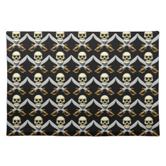 3D Skull and Crossed Swords Cloth Placemat