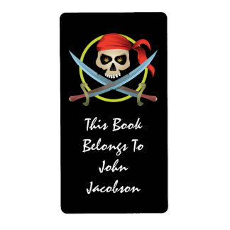 3D Skull Pirate Label Shipping Label