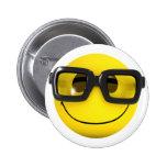 3d Smiley Nerd Geek Pinback Button