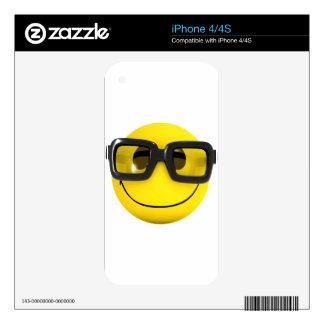 3d Smiley Nerd Geek Skins For iPhone 4S