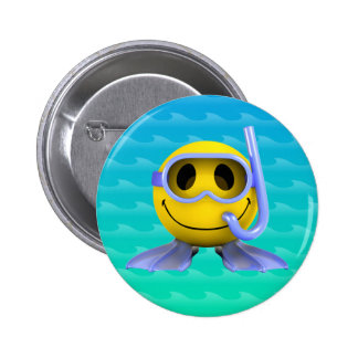3d Smiley Scuba diver 2 Inch Round Button