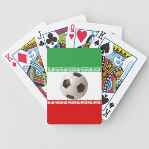 3D soccer ball on red, green and white Iranian fla Bicycle Playing Cards