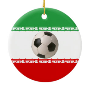 3D soccer ball on red, green and white Iranian fla Ceramic Ornament