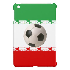3D soccer ball on red, green and white Iranian fla Cover For The iPad Mini