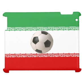 3D soccer ball on red green and white Iranian flag Cover For The iPad