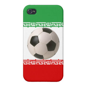 3D soccer ball on red green and white Iranian flag iPhone 4/4S Cases