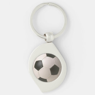 3D soccer ball Silver-Colored Swirl Metal Keychain