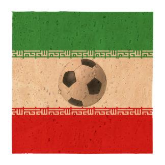 3D soccer ball red green white Iranian flag Coaster