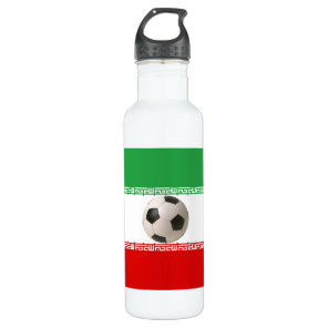 3D soccer ball with Iranian flag Water Bottle