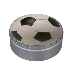 3D Soccerball Black White Football Candy Tins