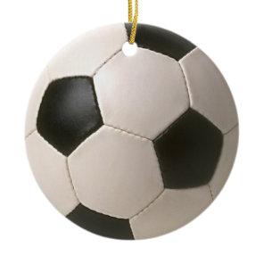 3D Soccerball Black White Football Ceramic Ornament