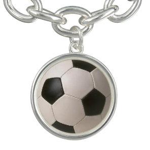 3D Soccerball Black White Football Charm Bracelets