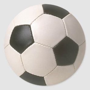 3D Soccerball Black White Football Classic Round Sticker
