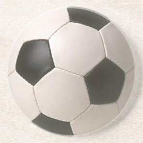 3D Soccerball Black White Football Drink Coaster