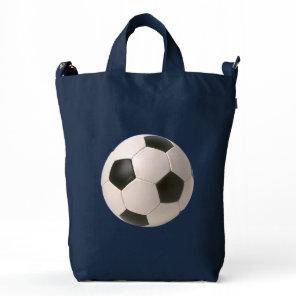 3D Soccerball Black White Football Duck Bag