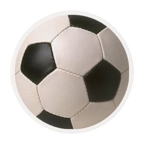 3D Soccerball Black White Football Edible Frosting Rounds