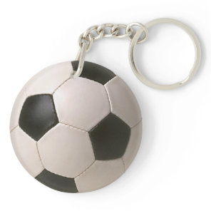 3D Soccerball Black White Football Keychain
