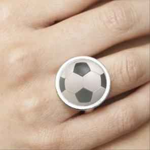 3D Soccerball Black White Football Photo Ring