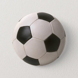 3D Soccerball Black White Football Pinback Button