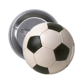 3D Soccerball Black White Football Pinback Button