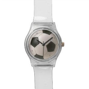 3D Soccerball Black White Football Wrist Watch