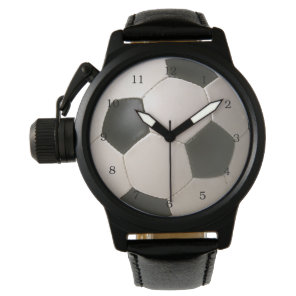 3D Soccerball Black White Football Wristwatch