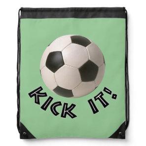 3D Soccerball Sport Kick It Drawstring Bag
