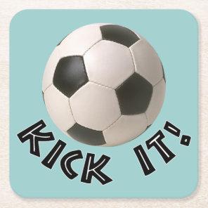 3D Soccerball Sport Kick It Square Paper Coaster