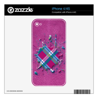 3D Splatter in Pink Checks on Pink Leather Texture Decal For iPhone 4S