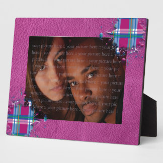 3D Splatter in Pink Checks on Pink Leather Texture Plaque