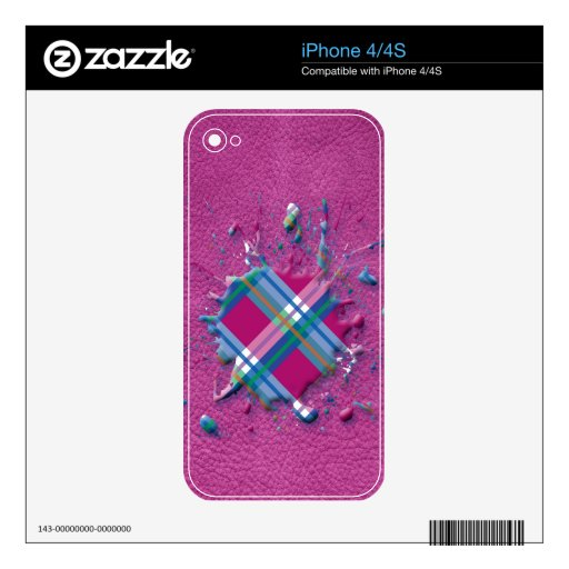 3D Splatter in Pink Checks on Pink Leather Texture Skin For iPhone 4S