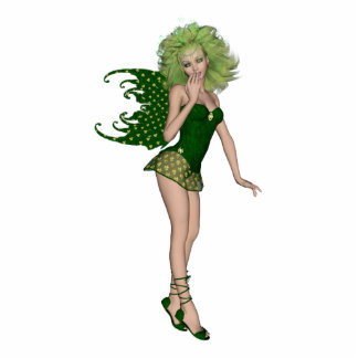 3D St. Patrick's Day Green Fairy Standing Photo Sculpture