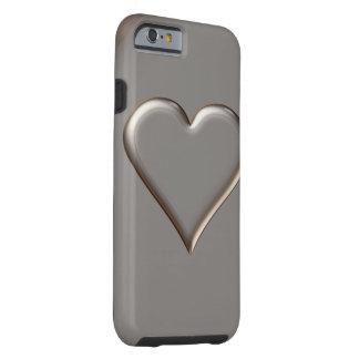3D Style Heart Symbol Light Gold Tough iPhone 6 Case