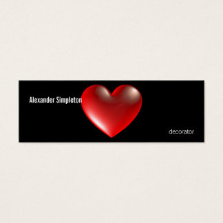 3D Style Heart Symbol Red Mini Business Card