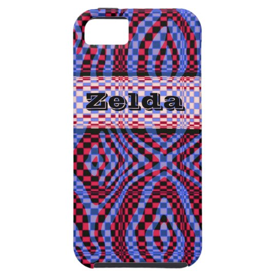 3D style red and purple crazy check iphone case