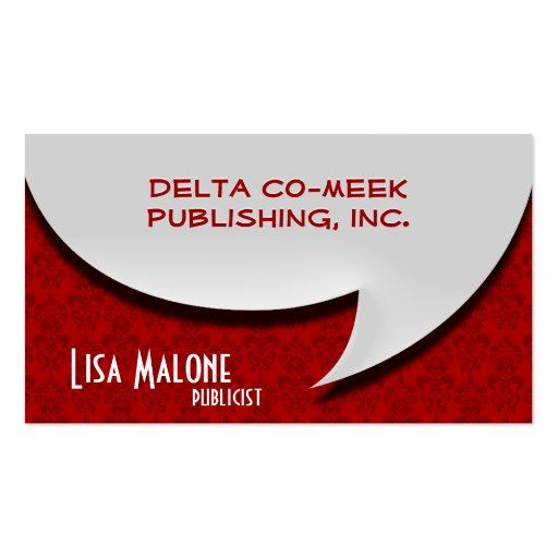 3D Style Speech Bubble Card on Damask Business Cards